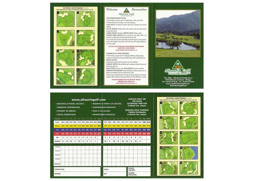 Golf Alhaurin carte de score 18 trous